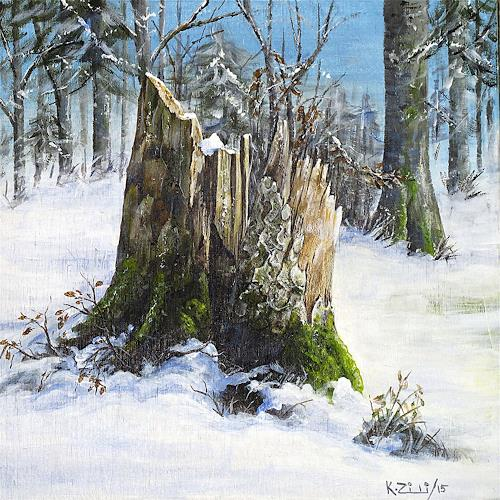 Konrad Zimmerli, Holz II, Landscapes: Winter, Nature: Wood, Naturalism