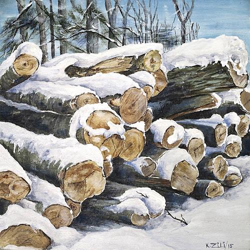 Konrad Zimmerli, Holz III, Landscapes: Winter, Nature: Wood, Naturalism