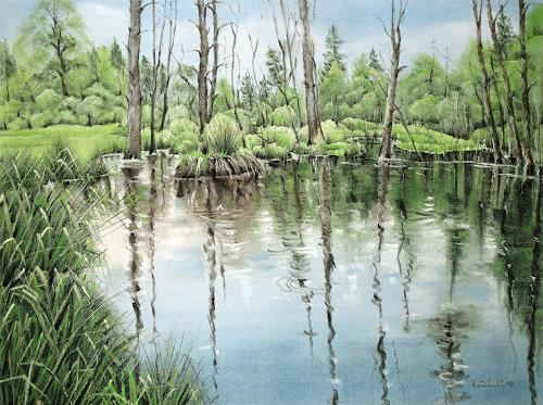 Konrad Zimmerli, Leben und Sterben, Landscapes: Spring, Nature: Wood, Abstract Art, Expressionism