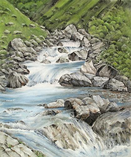 Konrad Zimmerli, Engelberger Aa, Nature: Water, Landscapes: Mountains, Expressionism