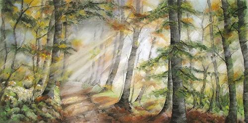 Konrad Zimmerli, Herbststimmung, Landscapes: Autumn, Nature: Wood, Naturalism