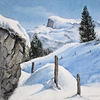 Konrad-Zimmerli-Landscapes-Winter-Landscapes-Mountains-Modern-Age-Naturalism