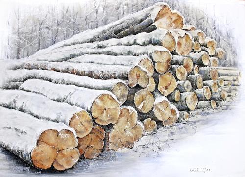 Konrad Zimmerli, Baumstämme, Landscapes: Winter, Plants: Trees, Naturalism, Expressionism