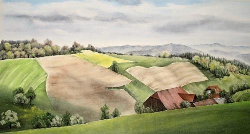 Konrad Zimmerli, Aeberdingen, Landscapes: Spring, Nature: Wood, Naturalism
