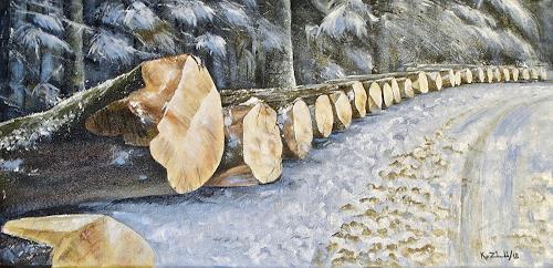 Konrad Zimmerli, Aufgereiht, Nature: Wood, Landscapes: Winter, Naturalism, Expressionism