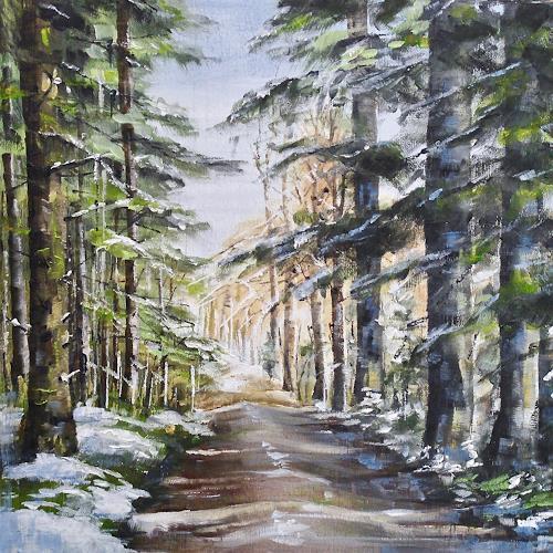 Konrad Zimmerli, Wald I, Nature: Wood, Landscapes: Winter, Naturalism, Expressionism