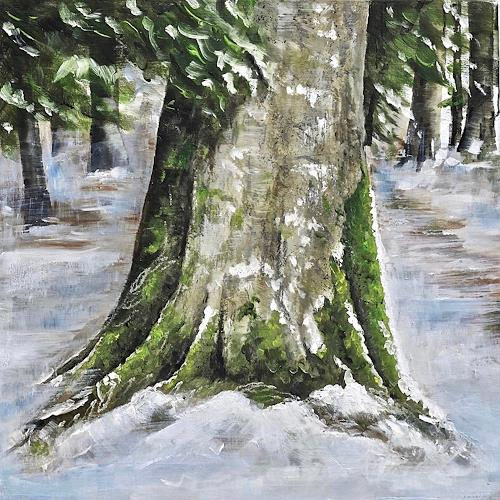 Konrad Zimmerli, Wald II, Landscapes: Winter, Nature: Wood, Naturalism