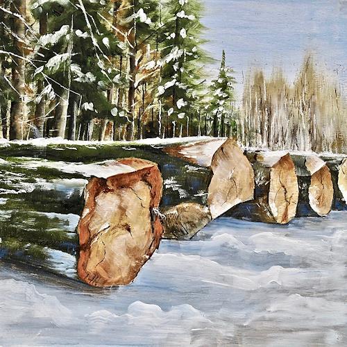 Konrad Zimmerli, Wald III, Landscapes: Winter, Nature: Wood, Naturalism, Expressionism