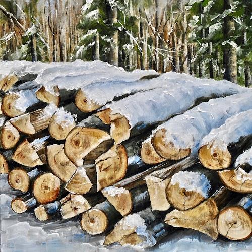 Konrad Zimmerli, Wald IV, Landscapes: Winter, Nature: Wood, Naturalism