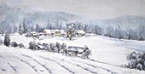 Konrad Zimmerli, Wintertag, Landscapes: Winter, Nature: Wood, Naturalism, Expressionism