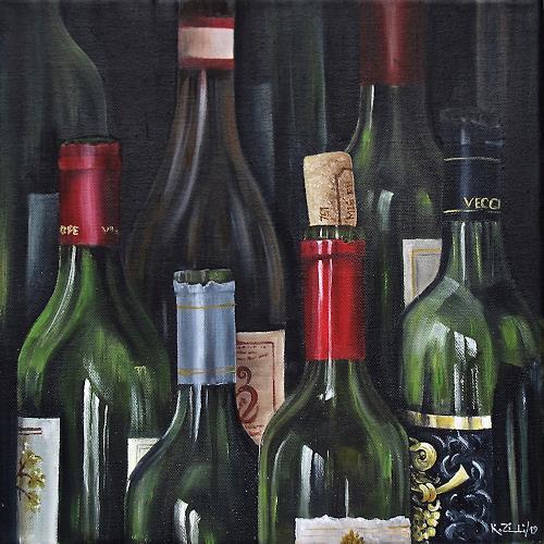 Konrad Zimmerli, Flasche leer...., Still life, Meal, Realism, Expressionism