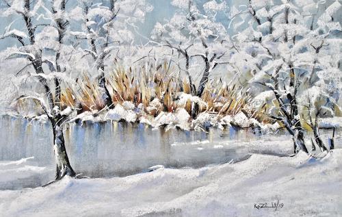 Konrad Zimmerli, Weiher, Landscapes: Winter, Nature: Water, Neo-Impressionism