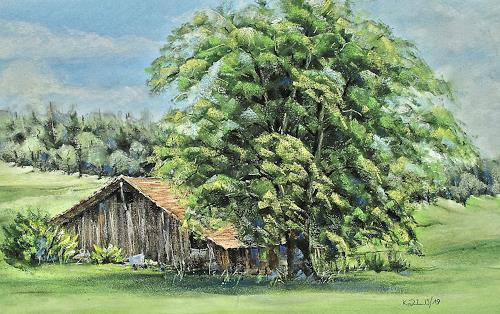 Konrad Zimmerli, Alte Scheune, Landscapes: Summer, Plants: Trees, Naturalism