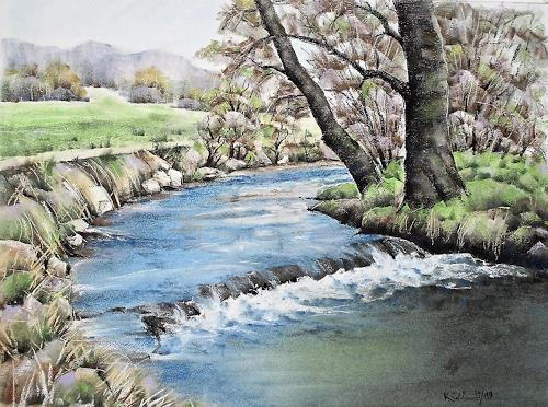 Konrad Zimmerli, Suhrenknie, Landscapes: Spring, Nature: Water, Naturalism, Expressionism