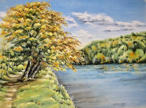 Konrad Zimmerli, An der Aare, Landscapes: Autumn, Nature: Water, Naturalism