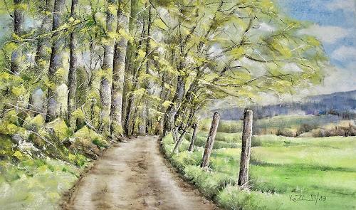 Konrad Zimmerli, Häxebrünneli, Landscapes: Spring, Nature: Wood, Naturalism, Expressionism