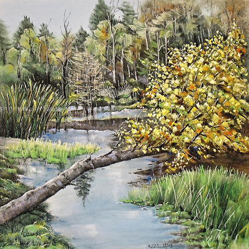 Konrad Zimmerli, Im Langholz, Landscapes: Autumn, Nature: Wood, Naturalism