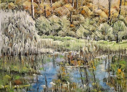 Konrad Zimmerli, Looweiher, Landscapes: Autumn, Nature: Water, Naturalism, Expressionism