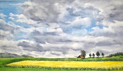 Konrad Zimmerli, Wolken, Landscapes: Plains, Landscapes: Spring, Neo-Impressionism