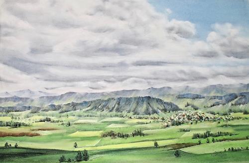 Konrad Zimmerli, Blick vom Santenberg, Landscapes: Summer, Nature: Earth, Naturalism, Expressionism
