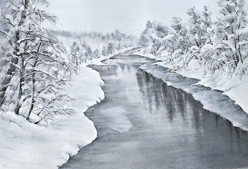 Konrad Zimmerli, Winterstille, Landscapes: Winter, Nature: Water, Naturalism, Expressionism