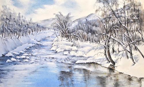 Konrad Zimmerli, Die Rotte, Landscapes: Mountains, Landscapes: Winter, Naturalism, Expressionism