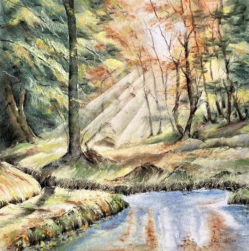 Konrad Zimmerli, Aspisee, Landscapes: Autumn, Nature: Wood, Naturalism, Expressionism