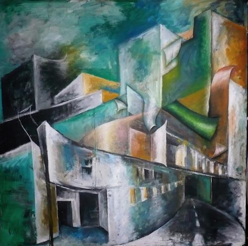 Anja Münter, stadt-leben/statt-leben, Miscellaneous Buildings, Architecture, Contemporary Art, Abstract Expressionism