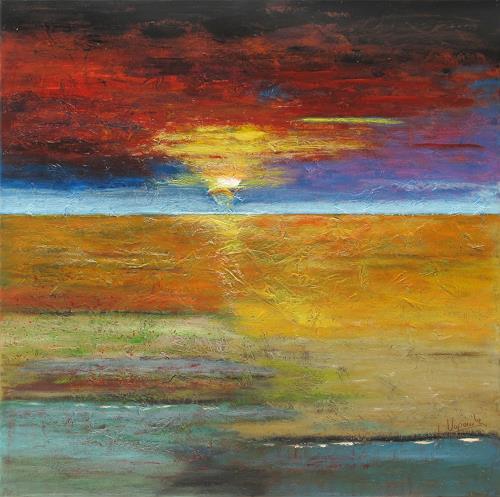 Barbara Vapenik, Himmel und Erde, Landscapes: Plains, Abstract art, Contemporary Art