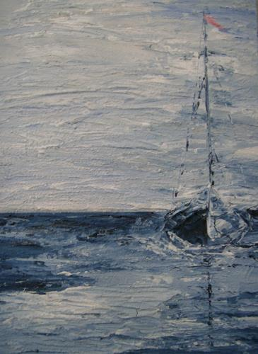 Beate Fritz, blue ship voyage, Verkehr: Ship, Nature: Water, Abstract Expressionism