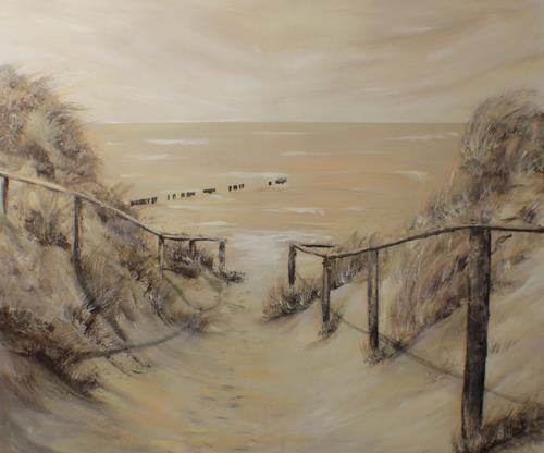 Beate Fritz, Sepia, Landscapes: Beaches, Nature: Miscellaneous, Contemporary Art, Expressionism