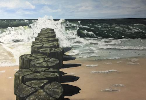 Beate Fritz, 26.8.2018 Graal - Müritz, Nature: Water, Landscapes: Beaches, Contemporary Art, Expressionism