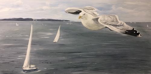Beate Fritz, Anflug auf Kiel, Nature: Water, Landscapes: Sea/Ocean, Contemporary Art