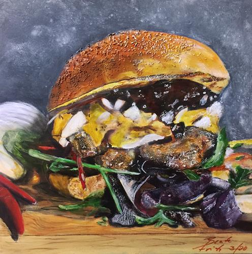 Beate Fritz, PulledPorkBurger, Meal, Still life, Contemporary Art, Abstract Expressionism