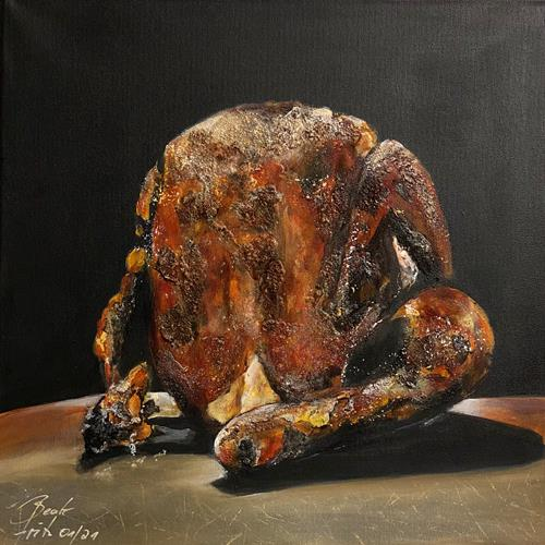 Beate Fritz, Chicken Dinner, Meal, Still life, Contemporary Art, Abstract Expressionism