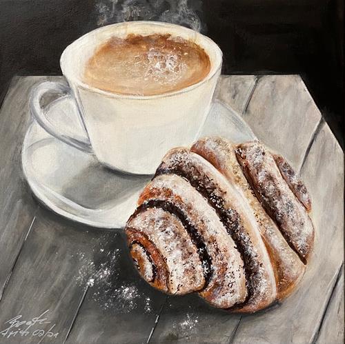 Beate Fritz, Franzbrötchen, Still life, Meal, Contemporary Art, Expressionism