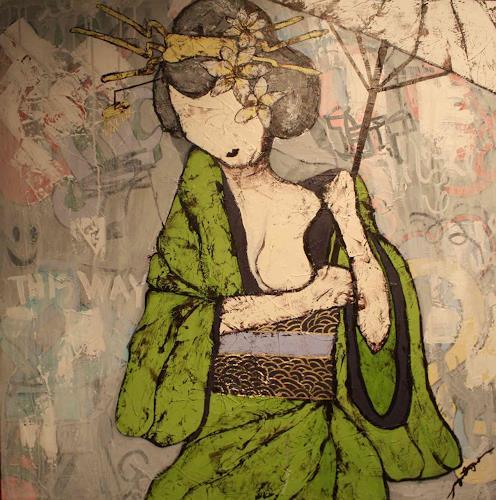 Pamela Gotangco, Waiting 1, People: Women, Contemporary Art, Expressionism