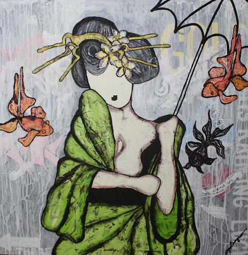 Pamela Gotangco, Raining Luck, People, Fantasy, Contemporary Art