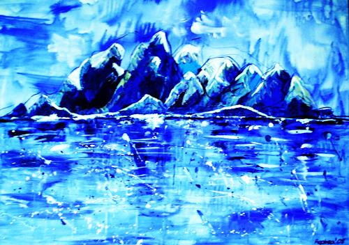 agabea, Im kalten Blau, Landscapes: Winter, Nature: Water, Abstract Art