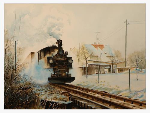 Bernd Kauschmann, Döllnitzbahn im Winter, Traffic: Railway, Technology, Realism, Expressionism