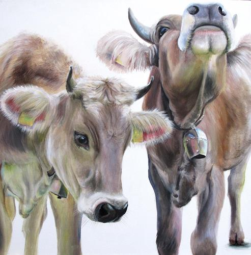 Vera Käufeler, Katinka & Kalinka, Animals: Land, Nature, Abstract Art, Expressionism