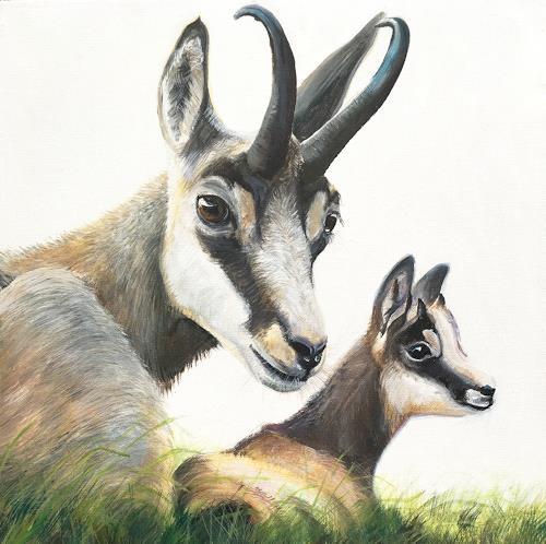 Vera Käufeler, Mama passt auf, Nature, Animals: Land, Photo-Realism