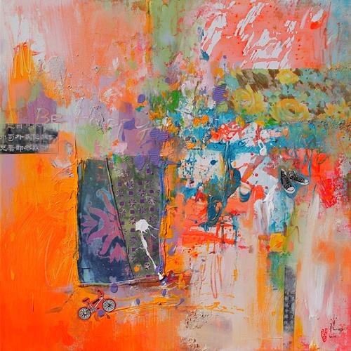 Xiaoyang Galas, Be happy, Abstract art, Emotions: Joy, Contemporary Art, Abstract Expressionism