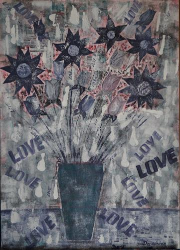 Inese Dzervinika, N/T, Abstract art, Plants: Flowers, Expressionism