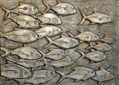 Heike Bender, Fischschwarm 2, Animals: Water, Movement, Contemporary Art, Expressionism