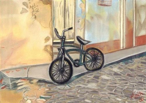 Mina, Cuban Bicycle, Traffic: Bicycle, Buildings: Houses, Expressive Realism