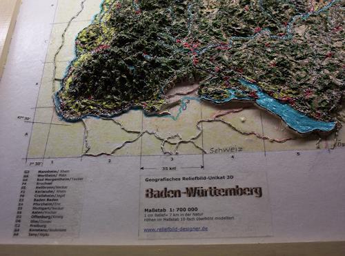 """Ottmar Gebhardt, # Nahaufnahme ca.15 cm, Reliefbild """"Bundesländer Deutschland, Miscellaneous, Leisure, Land-Art"""