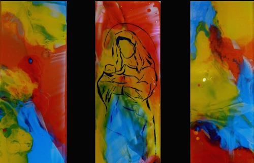 maria kammerer, Glasbild für ein Marterl, Belief, Modern Age