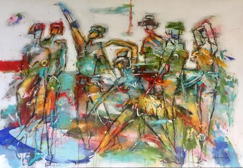 maria kammerer, Begegnung 4!, People: Group, Abstract Art, Expressionism