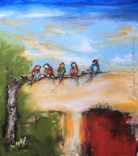 maria kammerer, Gemeinsam sind wir stark!, Animals: Air, Miscellaneous Landscapes, Action Painting, Expressionism